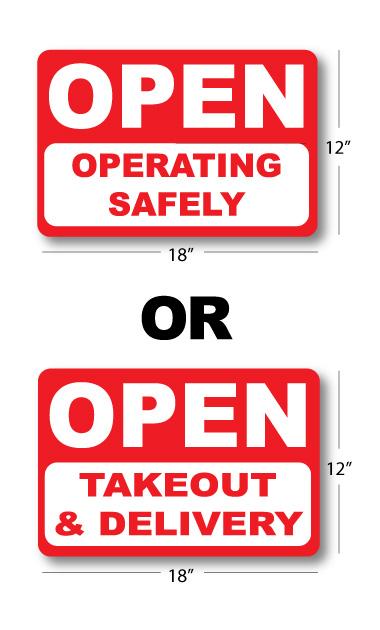 Open sign door decal